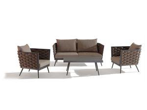 SET CAPPUCCINO, Ensemble de jardin avec canapé et table