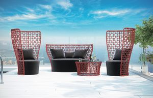 SET QUEEN, Ensemble de jardin avec canapé, fauteuil et table d'appoint