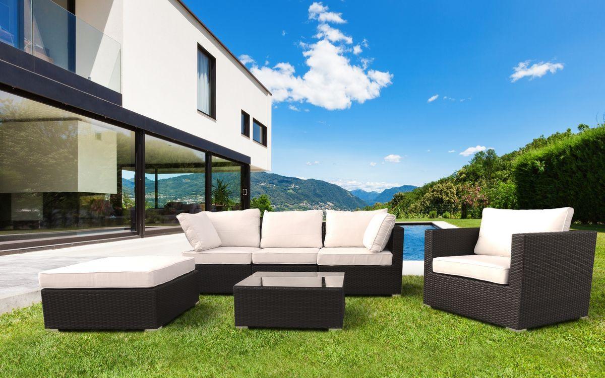 Salon de jardin ensemble , canapé et fauteuils pour les ...