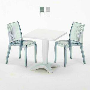 Table Basse Carrée Blanche 70x70cm Avec 2 Chaises Colorées Bar Extérieur Extérieur DUNE TERRACE, Set de jardin avec table et chaises