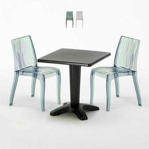 Table Basse Carrée Noire 70x70cm Avec 2 Chaises Colorées Bar Extérieur Extérieur DUNE BALCON, Set de jardin avec table et chaises