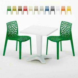 Tavolino Quadrato Bianco 70x70cm Con 2 Sedie Colorate Interno Esterno Bar GRUVYER PATIO, Set de jardin avec table et chaises