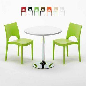 Tavolino Rotondo Bianco 70x70cm Con 2 Sedie Colorate Interno Bar PARIS LONG ISLAND, Set de jardin avec table et chaises