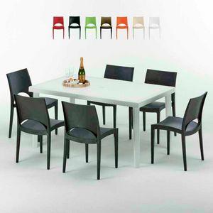 Tavolo Rettangolare Bianco 150x90 Con 6 Sedie Esterno Bar PARIS SUMMERLIFE, Set de jardin avec table et 6 chaises