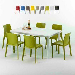 Tavolo Rettangolare Bianco 150x90 Con 6 Sedie Esterno Bar ROME SUMMERLIFE, Set de jardin avec table et 6 chaises