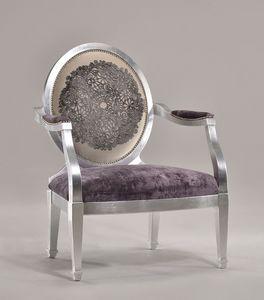 LUNA large armchair 8239A, Fauteuil rembourré avec pouf comme repose-pieds