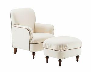 Violetta, Fauteuil confortable avec pouf, style classique