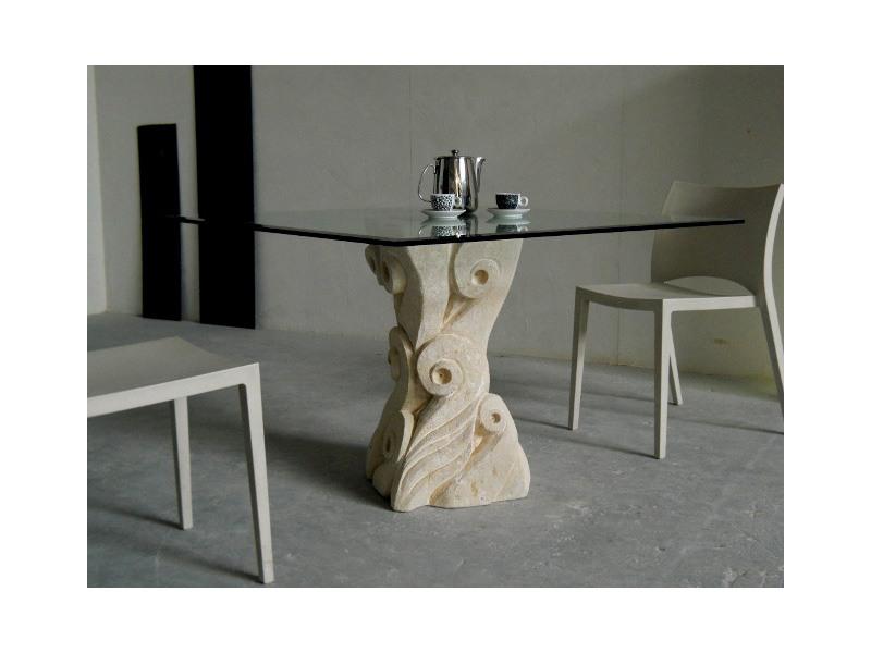 Apollo, Table avec base en pierre de Vicence sculptés à la main