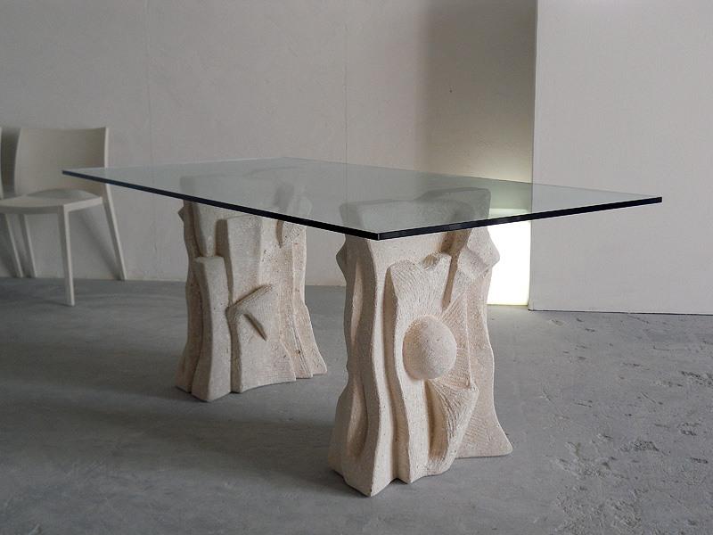 Archivio, Table en pierre avec dessus en verre, style moderne