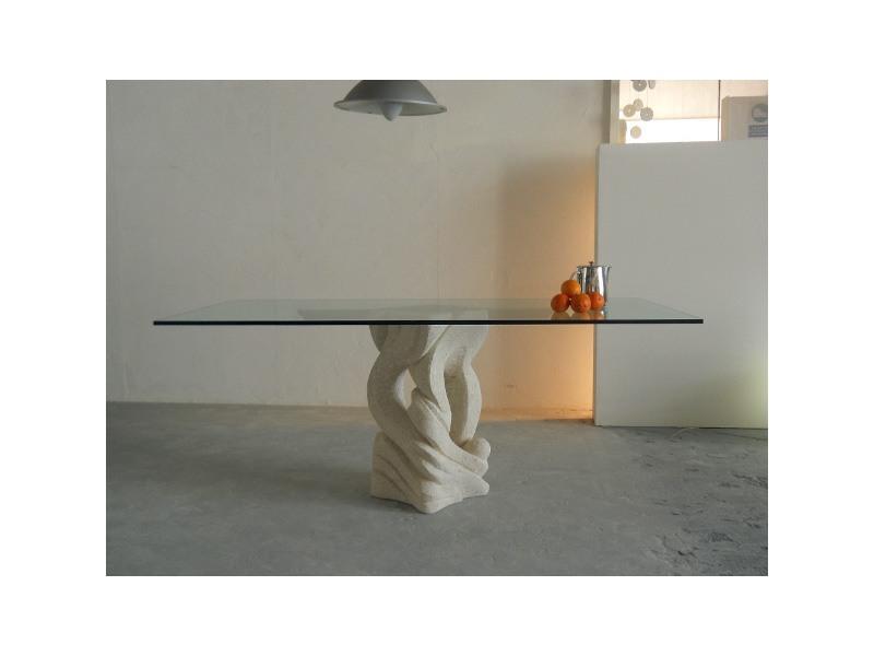 Australe, Table rectangulaire avec plateau en verre