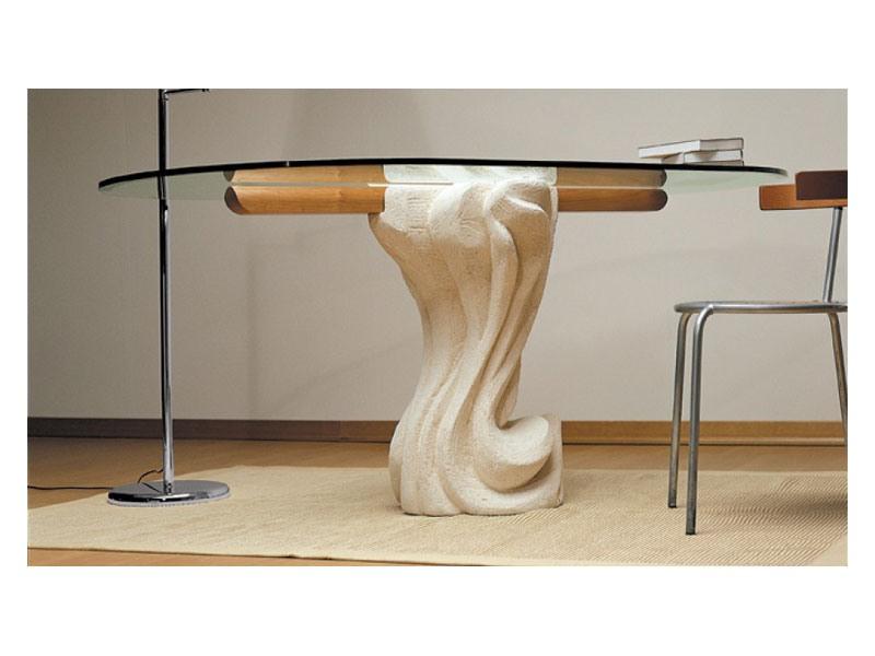 Essenza cherry wood, Table ovale avec plateau en verre et base en pierre