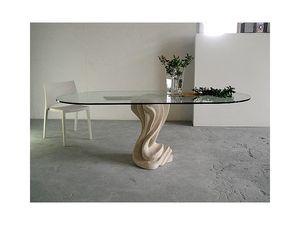 Essenza, Table pour la maison ou au bureau, avec une base en pierre
