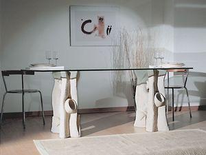Magellano, Table à manger avec plateau en verre et base en pierre