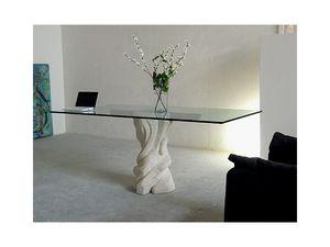 Mezzaluna cherry, Table avec plateau en verre et de la structure en pierre