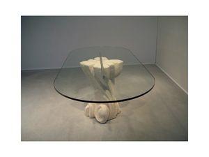 Nuoveau, Table ovale avec plateau en verre, base en pierre