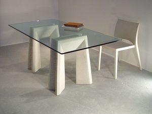 Riflesso table, Tables à manger avec plateau en verre et les jambes de pierre