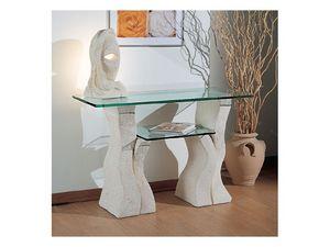 Set up, Table en pierre avec deux étagères en verre