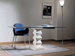 Stone, Table avec plateau en verre, pilier de pierre