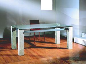 Ulisse, Table rectangulaire avec structure en pierre, pour la maison et le bureau