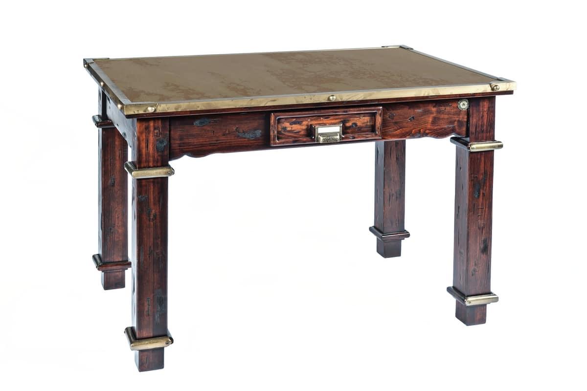art 484rps table de campagne bois et acier corten
