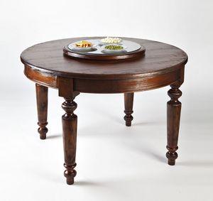 Art. 593, Table ronde en bois, avec dessus pivotant