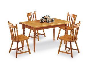 T/140, Table rectangulaire en bois de pin, dans un style rustique