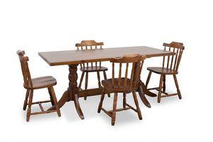 Table 180x80, Table rustique en pin massif, avec base torsadée