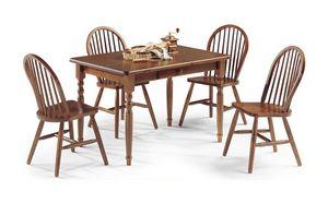Table 4 pattes 130x80, Table rectangulaire en bois de pin avec finishses de noix