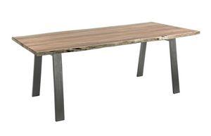 Table Aron 200X95, Table avec plateau en bois à bords irréguliers
