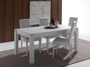 Art. 628 Rialto, Table extensible en solide bois laqué