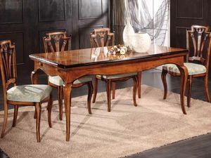 Gabriel table, Table extensible en bois décorée à la main