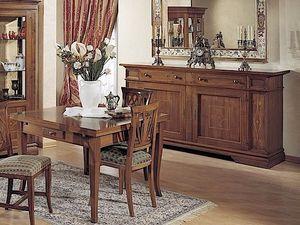Giotto table, Table extensible en bois, avec tiroir