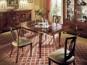 GRANDUCATO / Tavolo quadrato allungabile, Prorogeables table en bois, classique, rectangulaires, Cuisines