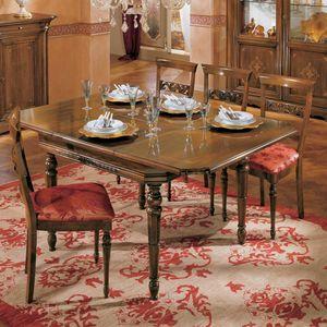I Dogi di Venezia DOGI-E608, Table extensible carrée, de style classique