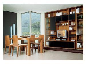 Living room 2, Table en bois avec l'extension, bibliothèque modulaire avec meuble tv, pour l'ameublement de la salle de séjour