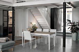 PERIGEO 115 TA161, Table avec base en métal, dessus en stratifié, style moderne