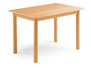 Pisa, Table extensible en hêtre, avec des jambes cylindriques