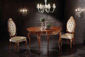 Princes tavolo tondo allungabile, Table à manger en bois, avec plateau extensible