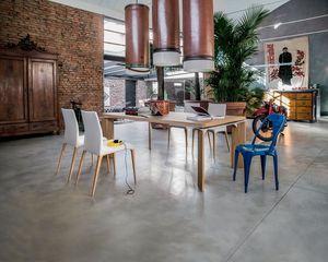 ROMA, Tables extensibles en bois, socle en marbre, salles à manger