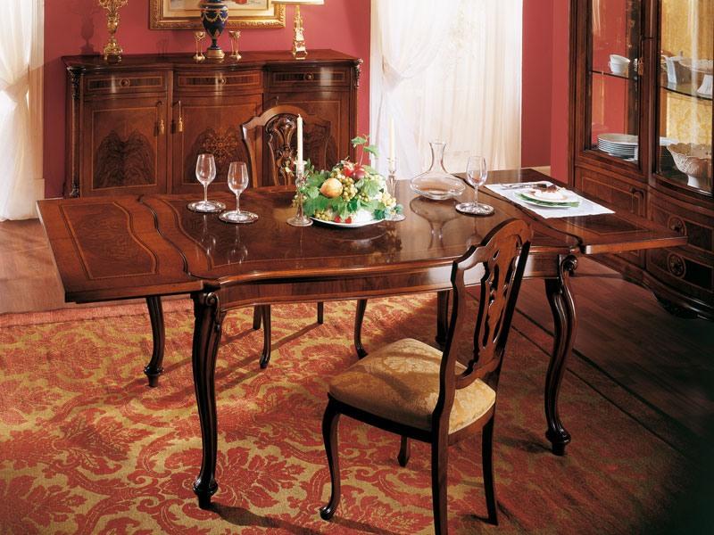 ROYAL NOCE / Extensible table, Table carrée classique avec extension pour salles à manger