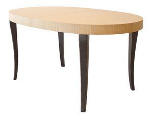 TA16, Extensible bicolore table ovale, pieds en hêtre et le dessus de placage de chêne