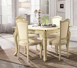 Viola table carrée, Table néoclassique, avec pieds sculptés