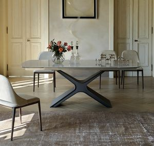 CALLIOPE, Table extensible ou fixe avec plateau en verre ou en céramique