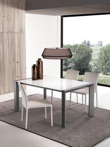 Art. 631 London, Table extensible en verre avec extensions en bois
