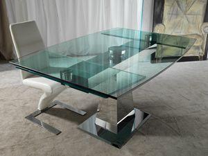 Art. 658 Enterprise, Table en acier et verre, avec prolongements synchronisés