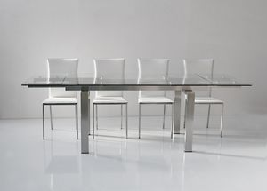 Art. 671 New York, Table extensible, plateau et rallonges en verre trempé