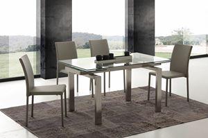 Art. 672 Manhattan, Table extensible en verre et acier brossé