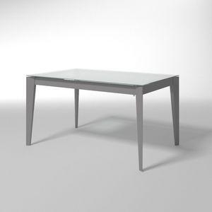 Astro, Table extensible en acier et verre, pour les cuisines modernes