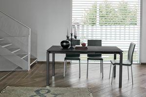 AURIGA 110 TA115, Table en métal avec plateau en verre approprié pour cuisine moderne