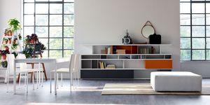 Calipso, Table extensible, plateau en verre, pour les cuisines modernes